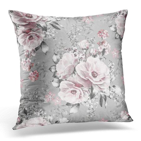 ARHOME Beige Retro with Pink Flowers and Leaves on Gray Watercolor Floral Pattern Rose in Pastel Color for Black Pillow Case Pillow Cover 20x20 inch