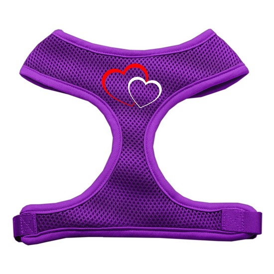 Double Heart Design Soft Mesh Harnesses Purple Extra Large