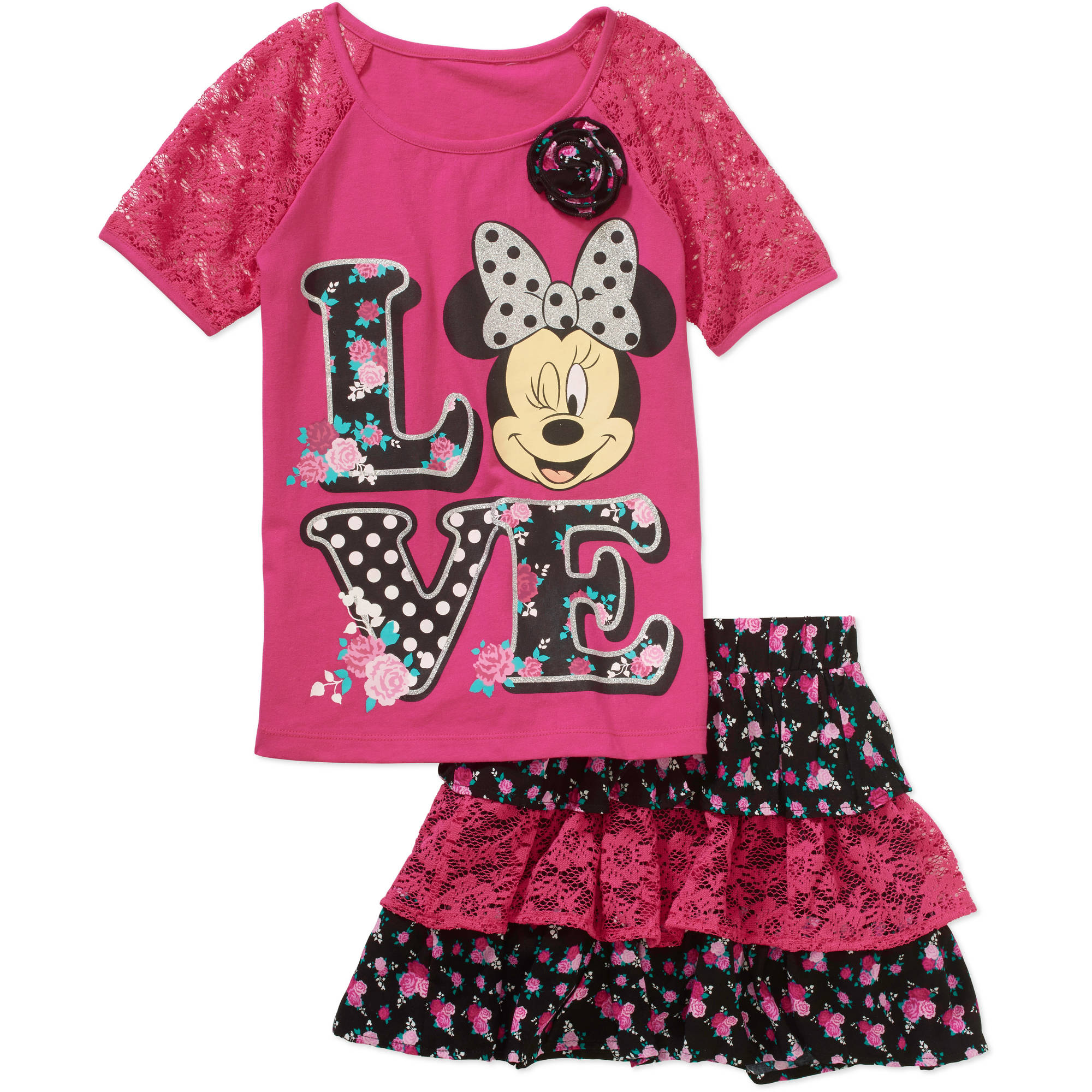 Minne Mouse Girls' Lace Ruffle Scooter S