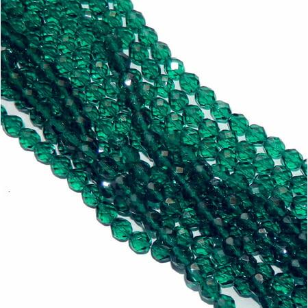 24 Firepolish Faceted Czech Glass, Loose Beads, 6mm Emerald