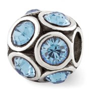 Sterling Silver with Swarovski Crystals March Pale Blue Bubble Bead