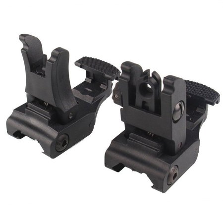 Polymer Folding Tactical Flip up Sight Rear Front Sight Mount Set for Weaver / Picatinny Rails Backup Flip up Sights Rapid Transition Set