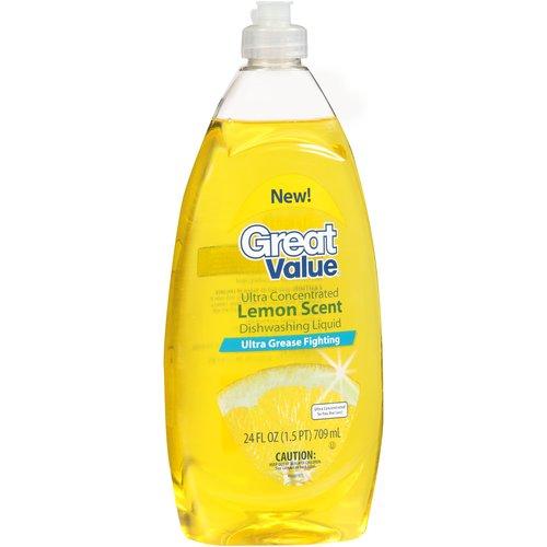 Great Value Dishwashing Liquid, Lemon, 24 oz