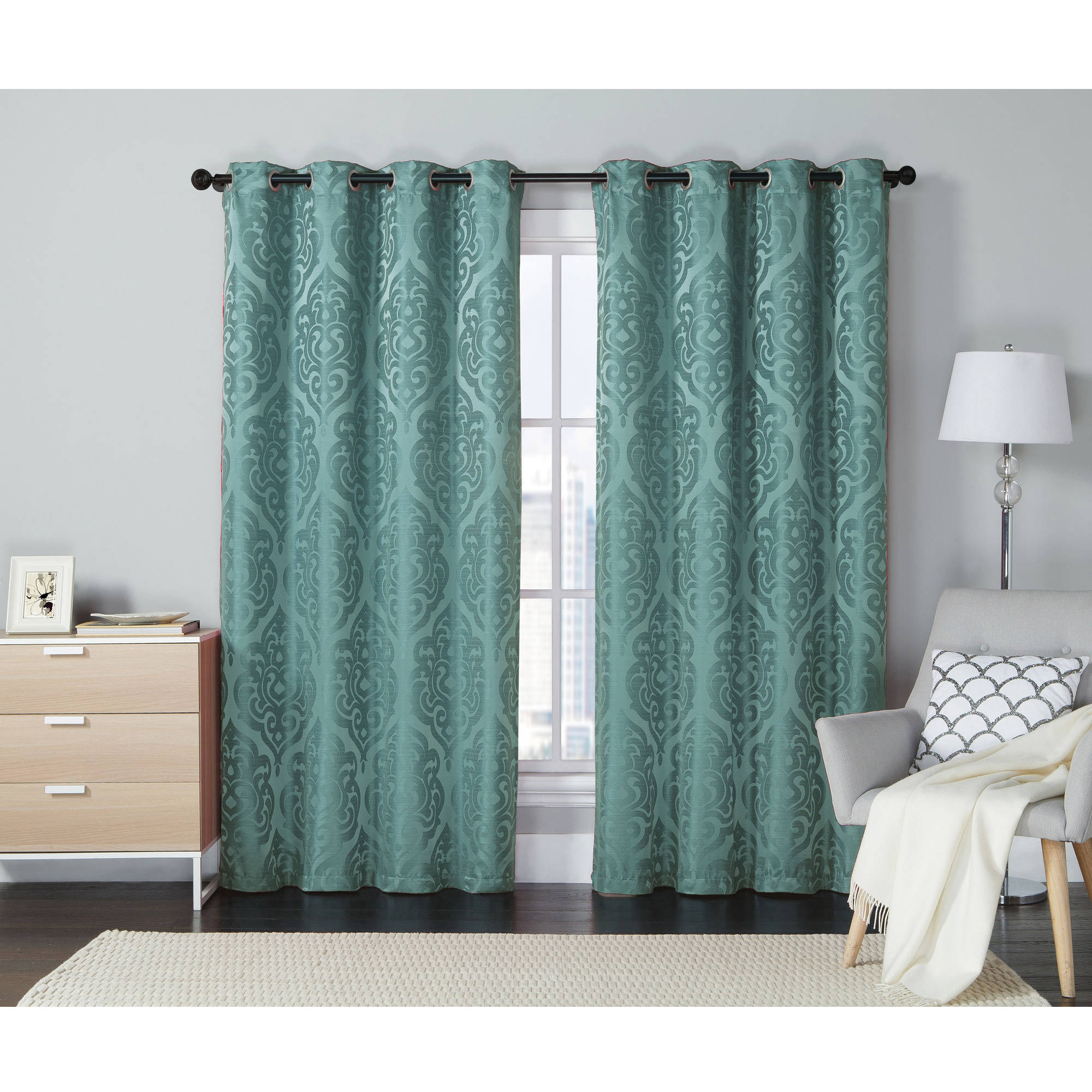 "***DISCONTINUED*** VCNY Home Westmount Damask Jacquard 84"" Length Grommet Top Window Curtains"