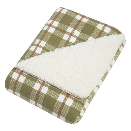 Deer Lodge Faux Shearing Blanket, Sage/Brown/Cream, Plush cream faux shearling By Trend Lab