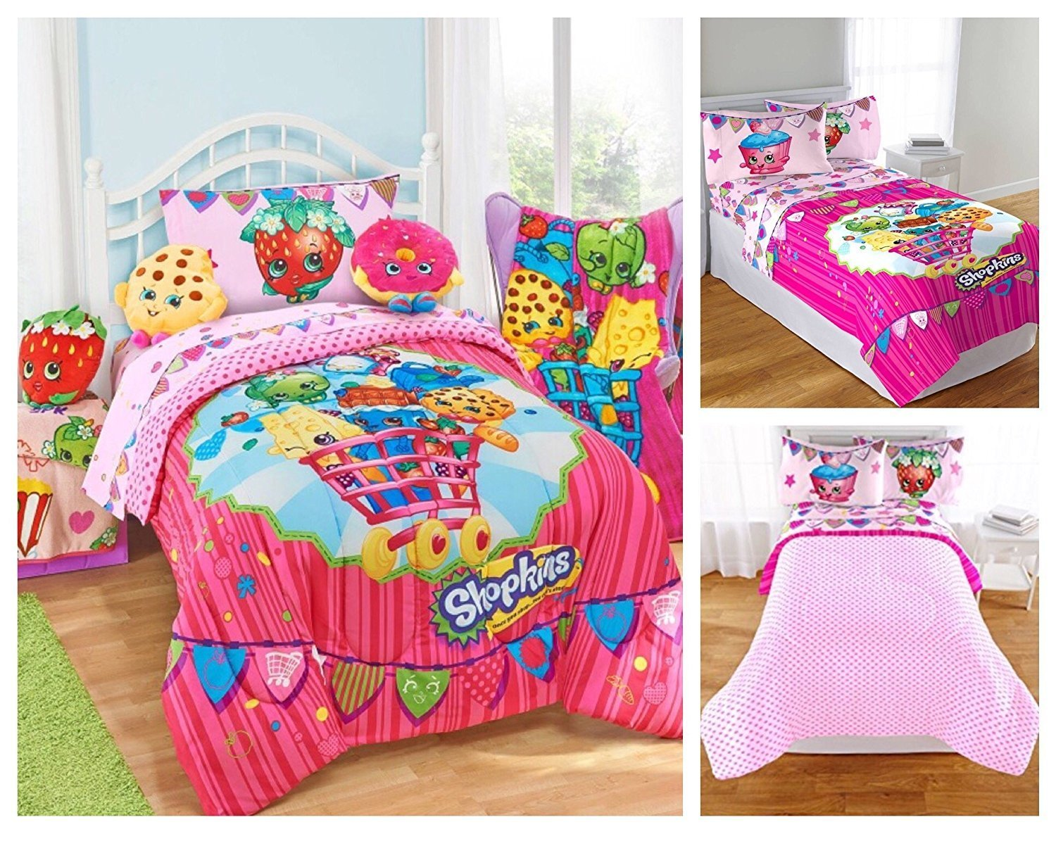 Shopkins Kids 5 Piece Bed in a Bag Twin Size Bedding Set Reversible Comforter, Microfiber... by