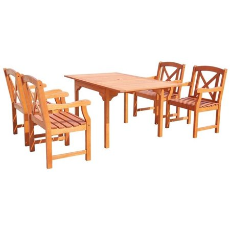 Vifah Malibu 5 Piece Extendable Patio Dining Set In Natural
