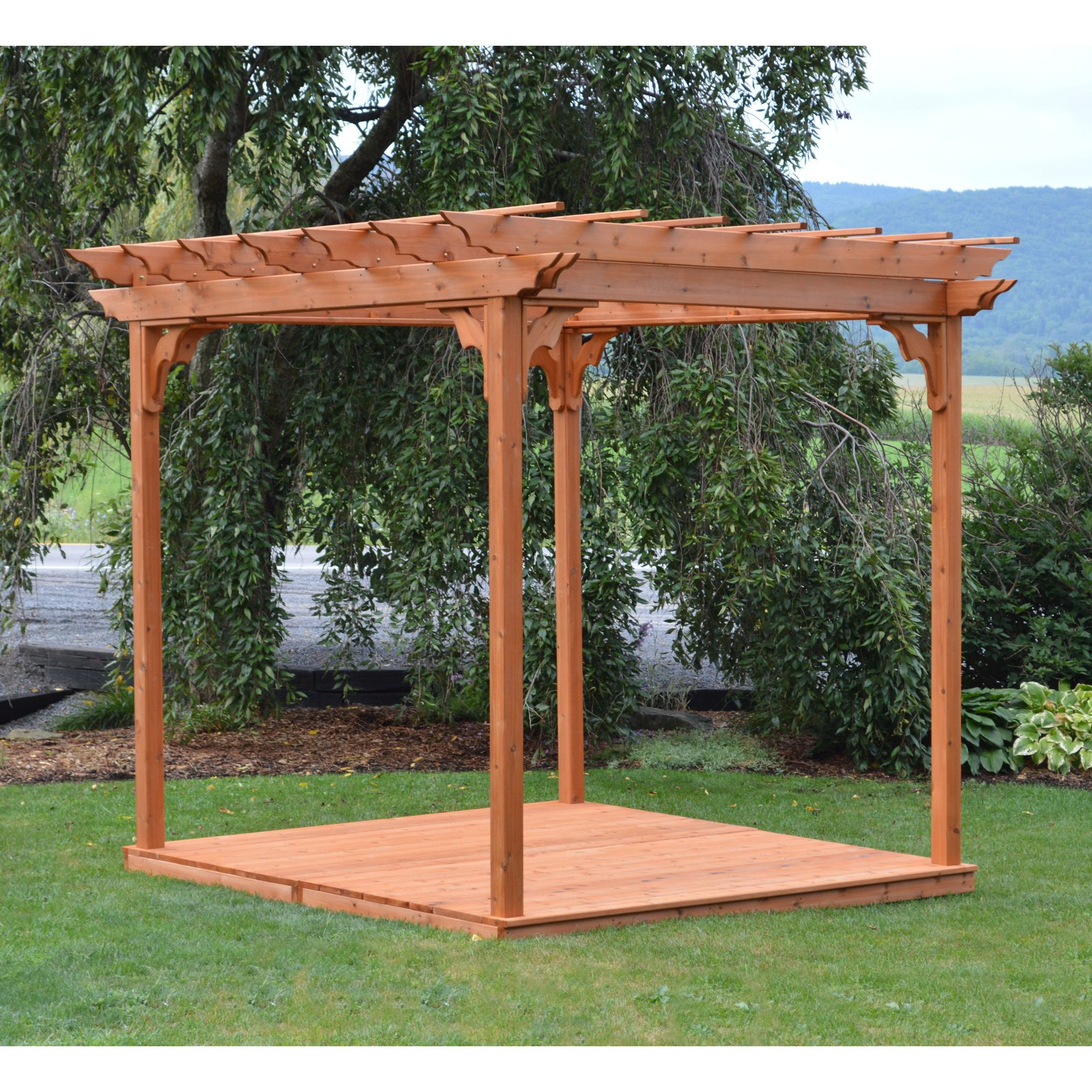 A & L Furniture Western Red Cedar Pergola With Deck and Swing Hangers