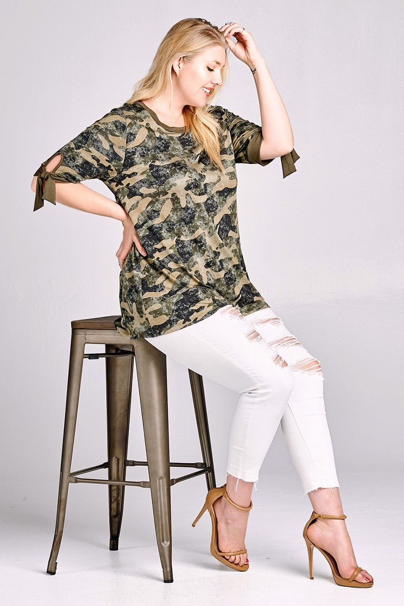 Nyteez - Nyteez Women s Plus Size Camouflage Knit Tunic Top with Tie  Sleeves - Walmart.com 5ce6164e3