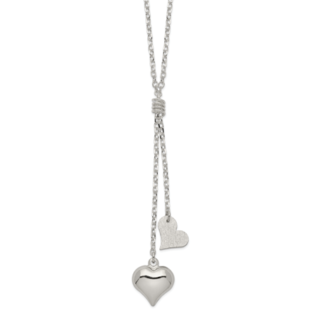 Fancy Puffed Heart - 925 Sterling Silver Polished and Textured Puffed Heart Fancy Drop Necklace 17 Inch