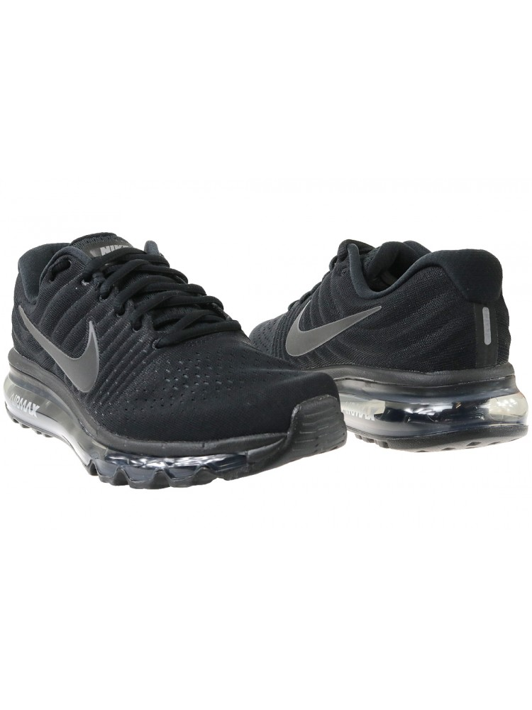 competitive price b38a2 f4573 Nike - Kids Nike Air Max 2017 GS Triple Black 851622-004 - Walmart.com