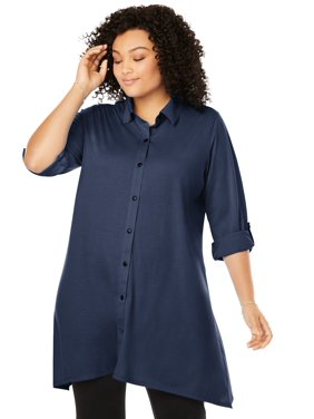 Woman Within Women's Plus Size Button-Front Collared Maxi Tunic