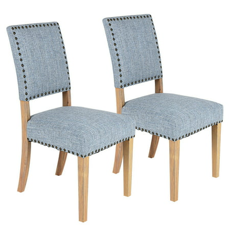 Costway Set of 2 Fabric Dining Chairs w/ Rubber Wood Legs Home Kitchen Furniture - Brazilian Wood Furniture
