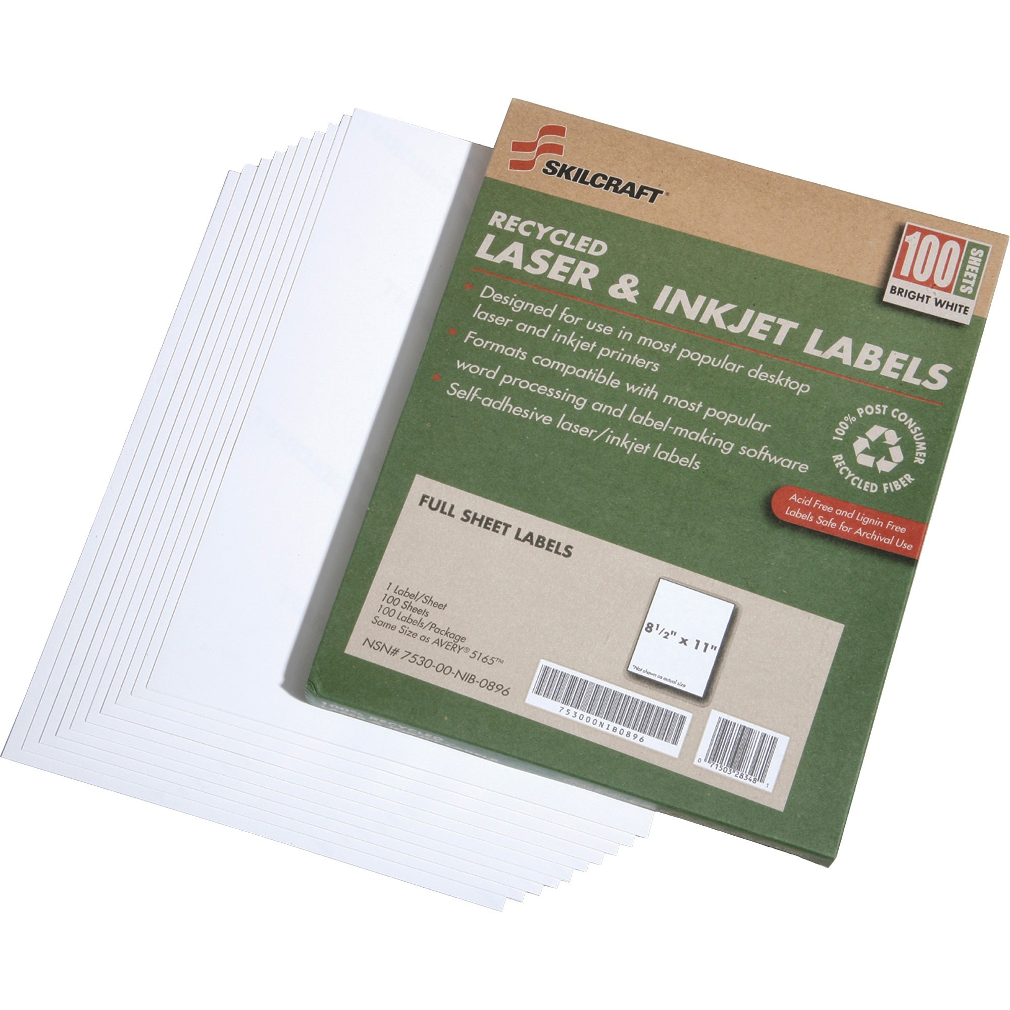 "Skilcraft Full-sheet Labels, Laser/Inkjet, 8-1/2""x11"", 100 Sht/BX, WE 5789298"