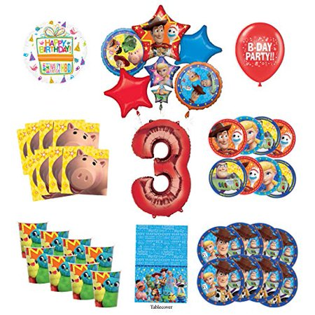 Toy Story 3rd Birthday Party Supplies 8 Guest Decoration Kit with Woody, Buzz Lightyear and Friends Balloon Bouquet - Woody Party Decorations