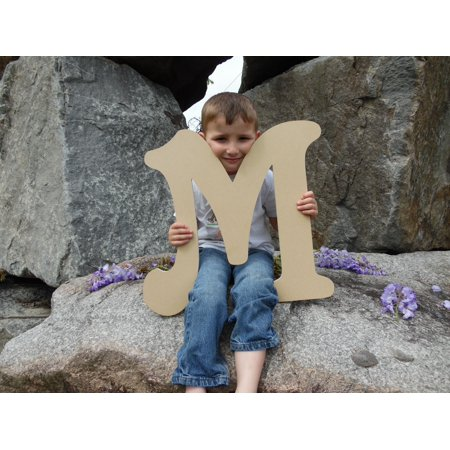 Wooden Letter (M) Unfinished 24'' Wood Craft Letter, Paintable