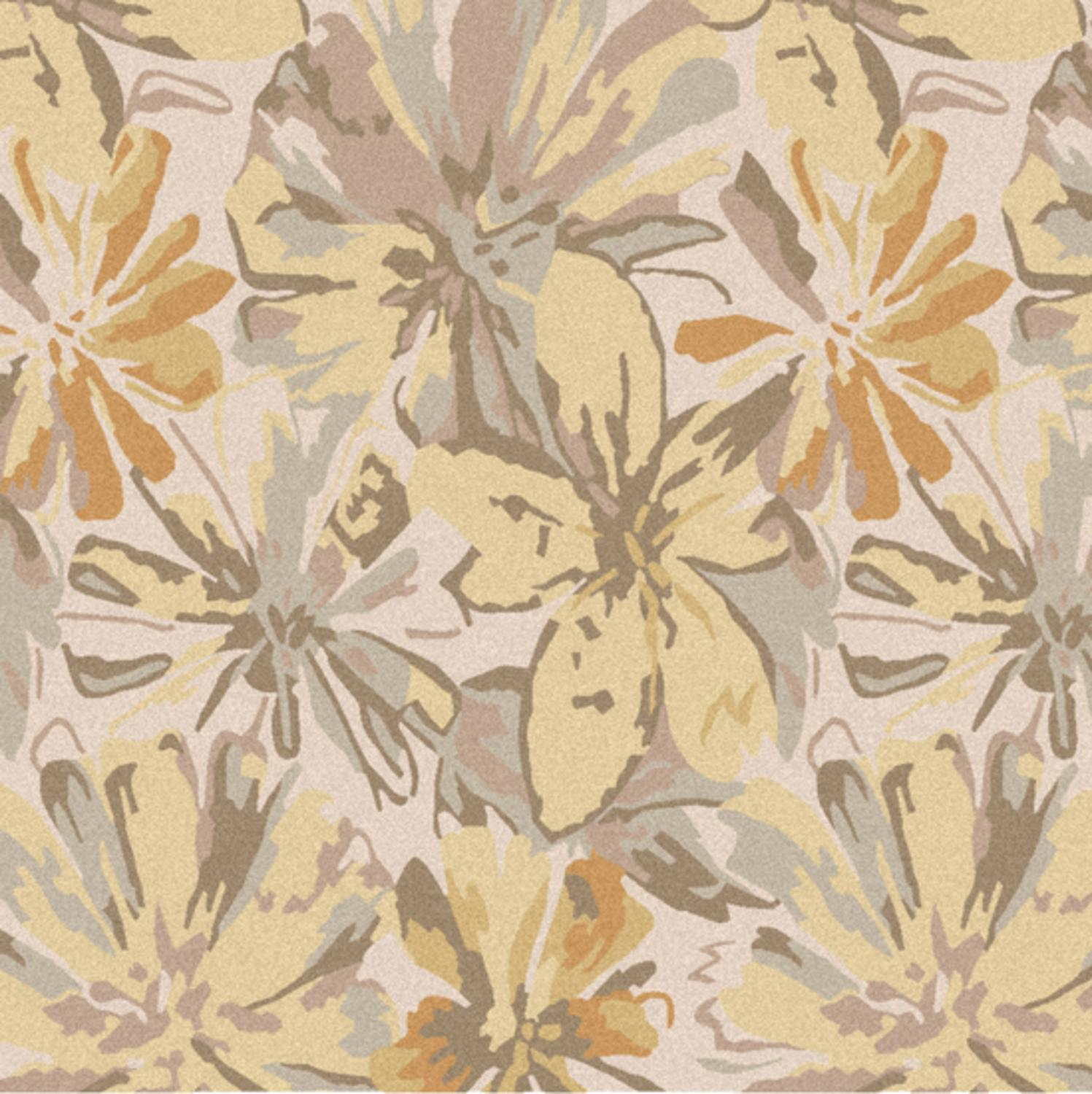 9.75' x 9.75' Daisy Dream Gray and Yellow Flower Square Wool Area Throw Rug