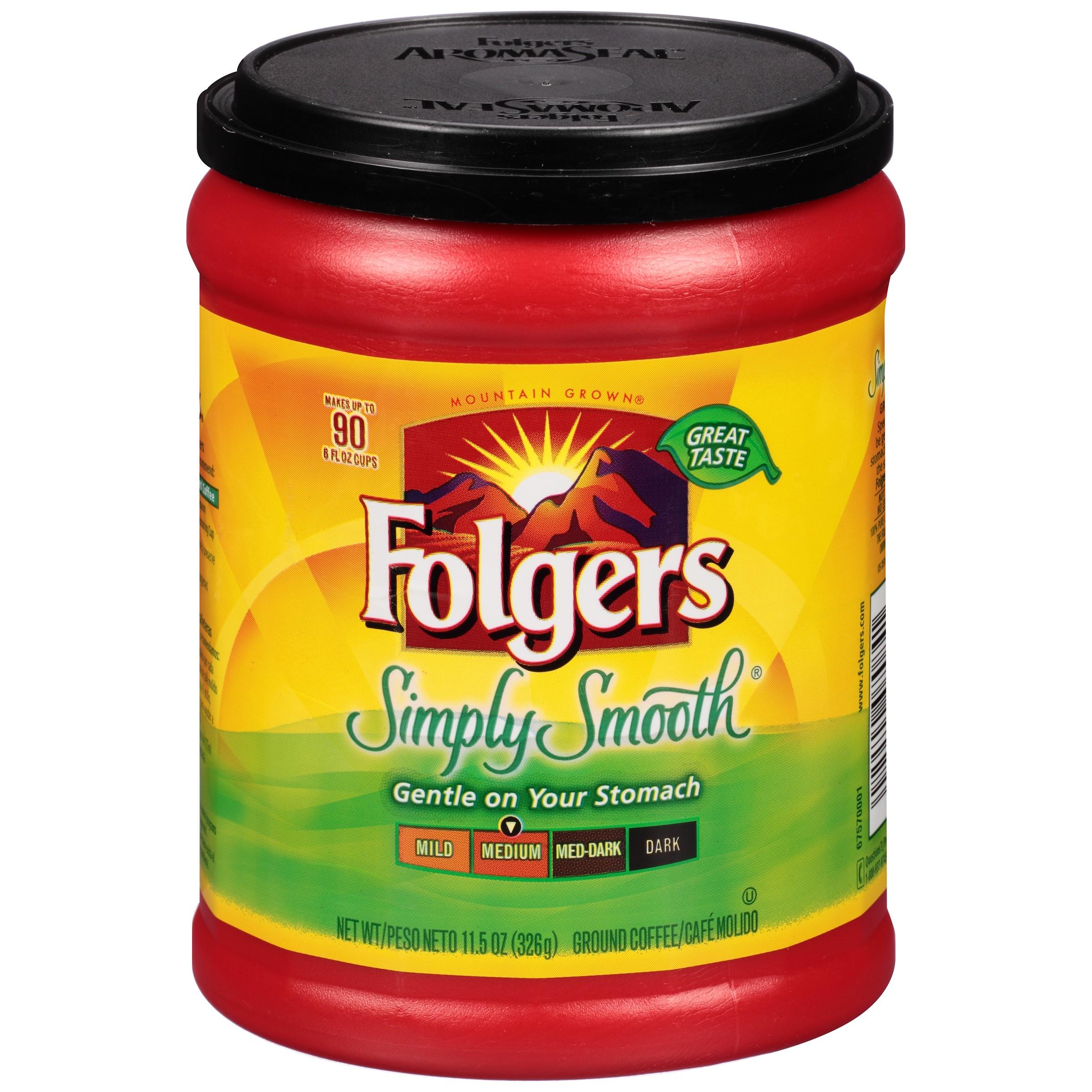 Folgers Medium Roast Ground Coffee, Simply Smooth, 11.5 Oz
