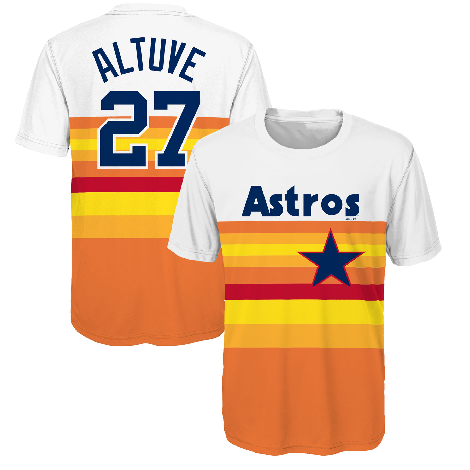 Jose Altuve Houston Astros Youth Cooperstown Player Sublimated Jersey Top - Orange