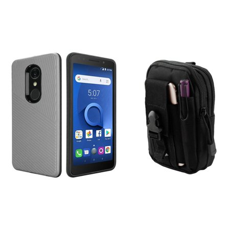 HR Textured Lines Hybrid Case (Silver Grey) with Tactical EDC MOLLE Belt Bag Pouch and Atom Cloth for Alcatel -