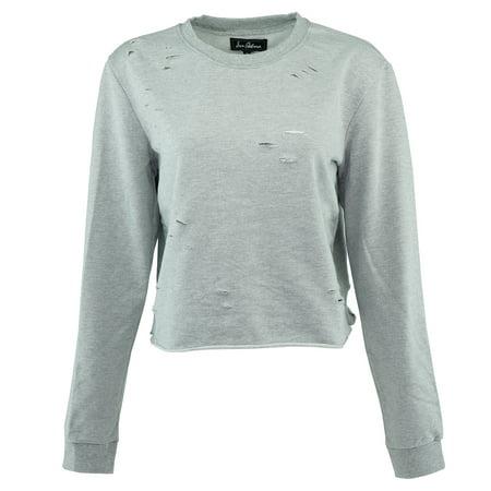 Sam Edelman Women's Cropped Distressed Crew Neck Sweater