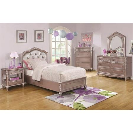 Bowery Hill 5 Piece Tufted Twin Bedroom Set in Metallic - Metallic Set Hutch