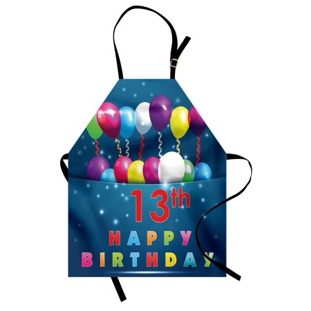 13th Birthday Apron Joyful Surprise Event Teen Celebration Party with Balloons Ribbons Stars, Unisex Kitchen Bib Apron with Adjustable Neck for Cooking Baking Gardening, Multicolor, by Ambesonne