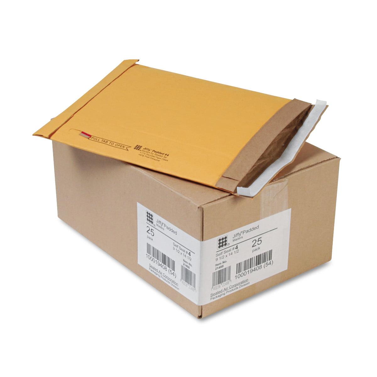 Sealed Air Jiffy Padded Self Seal Mailer, #4, 9 1/2 x 14 1/2, Natural Kraft, 25/Carton