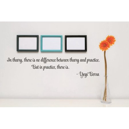 Custom Wall Decal Vinyl Sticker : In theory, there is no difference between theory & practice. In practice, there is. Yogi Berra Quote (Difference Between I3 And I5 Processor In Laptops)
