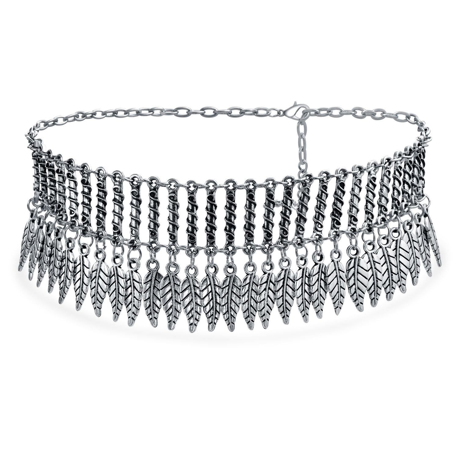 Native American Southwestern Style Dangling Feather Wide Choker Silver Tone Metal Necklace For Women Adjustable