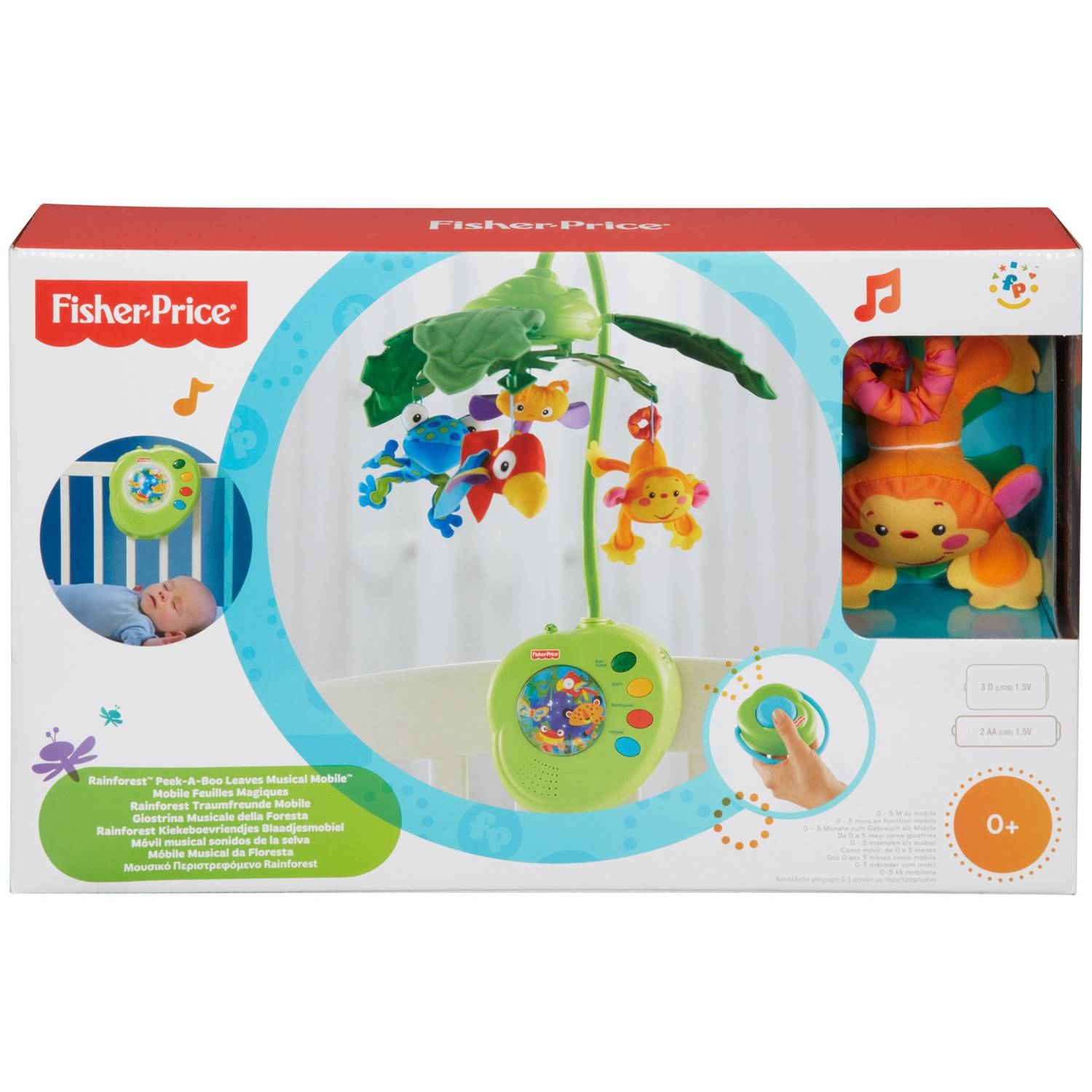 musical mobile fisher price rainforest peek a boo leaves. Black Bedroom Furniture Sets. Home Design Ideas