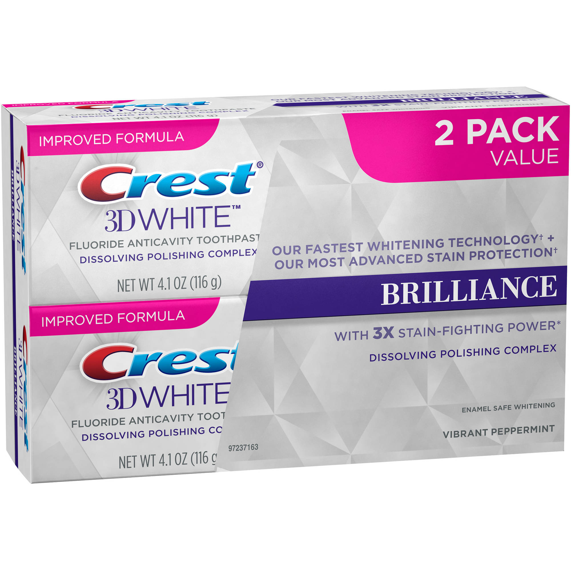 Crest 3D White Mesmerizing Mint Fluoride Anticavity Toothpaste, 4.1 oz, (Pack of 2)