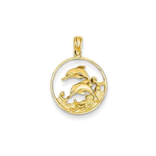 14k Yellow Gold Double Dolphin Circle Pendant