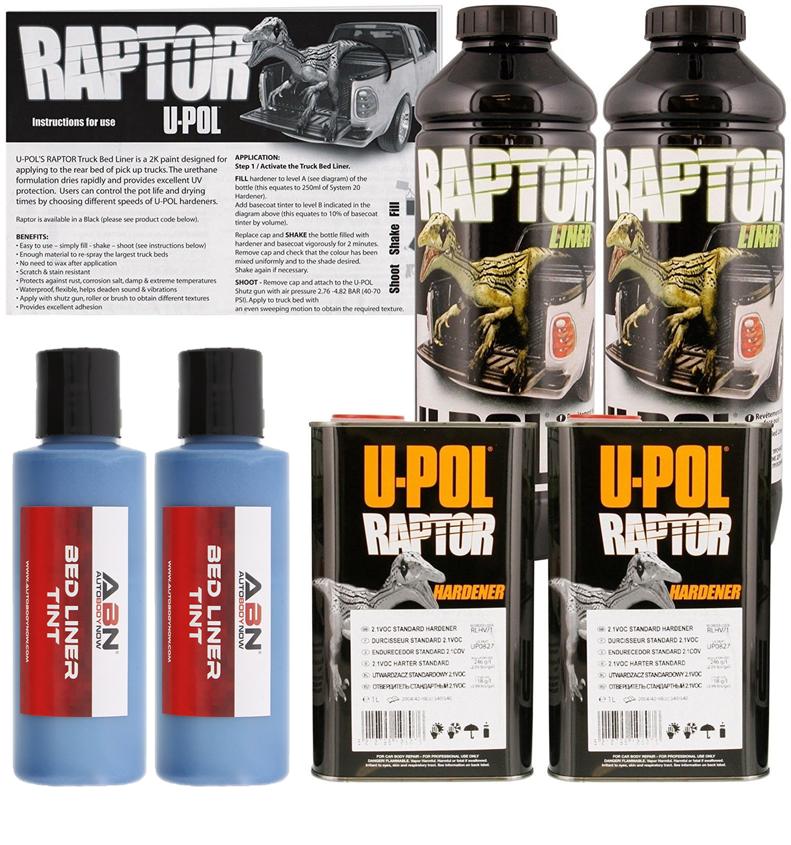U-POL Raptor Tintable Blue Metallic Bed Liner & Texture Coating, 2 Liters Upol