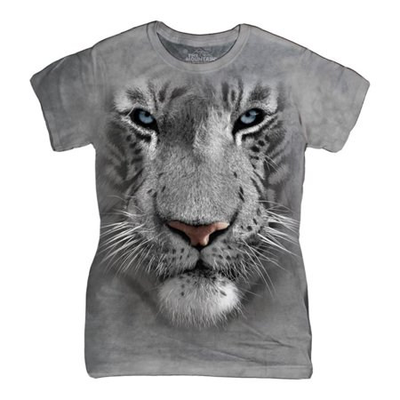 The Mountain White Cotton White Tiger Face Design Novelty Womens T Shirt New