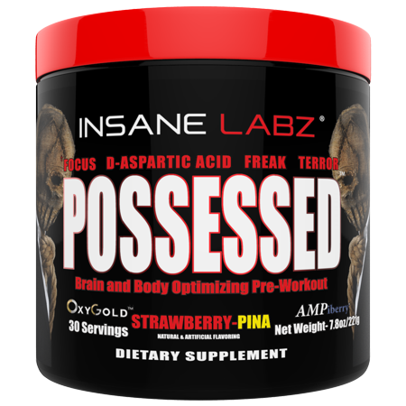 Insane Labz Possessed Low Stimulant Testosterone Boosting Pre Workout Powder - Loaded with D-Aspartic Acid and Creatine Fueled by AMPiberry and OXYgold - 30 Servings - Strawberry