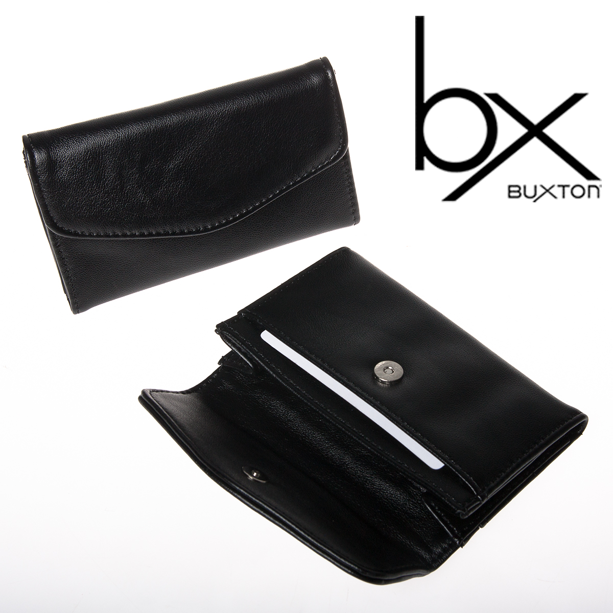 2 Buxton Black Faux Leather Snap Business Card Case Holder