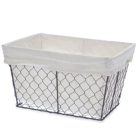 Basket Liner Patterns - Garden Winds Stella Rect Wire Basket with Cloth Liner - Medium 12in