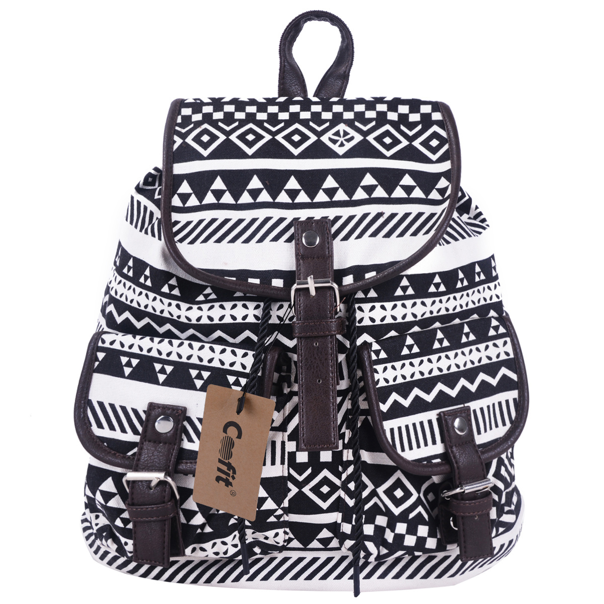 Canvas School Backpack,Coofit New Vintage Tribal Boho Style Floral Lady's Canvas Backpack for Women Ladies Girls