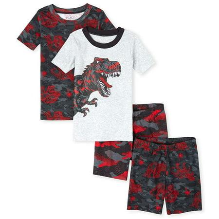 The Childrens Place Boys 4 Piece Pajama Short Set, Black The Childrens Place Boys 4 Piece Pajama Short Set, Black