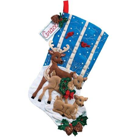 Bucilla Christmas Felt Kits - 18-Inch Christmas Stocking Felt Applique Kit, 86502 Deer Family, Bucilla Felt Applique Stocking By Bucilla
