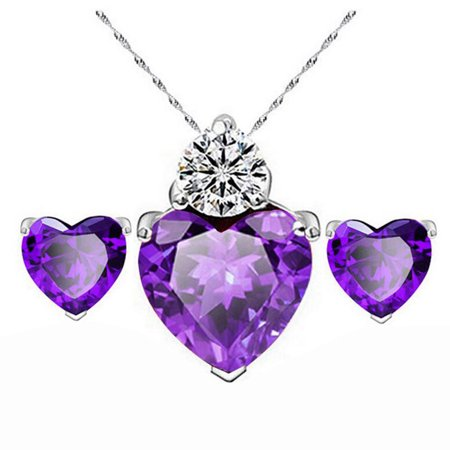 Women Gold Red Heart Crystal Jewelry Sets Wedding Necklace Earring Sets Purple