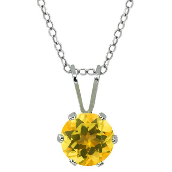 0.70 Ct Round Shape Yellow Citrine Sterling Silver Pendant
