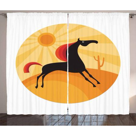 Horse Curtains 2 Panels Set, Abstract Animal Figure Running in the Desert Hot Summer Nature Landscape at Noon, Window Drapes for Living Room Bedroom, 108W X 90L Inches, Multicolor, by