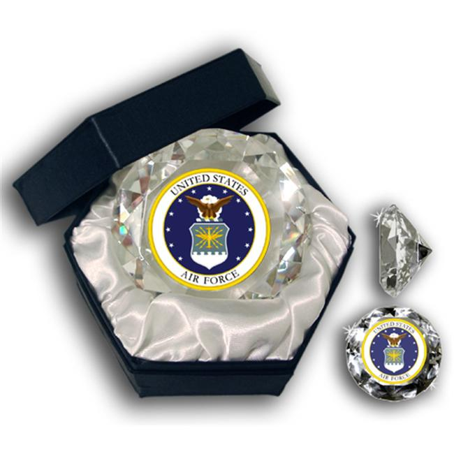 Sports Collectors Guild USAFD Us Air Force Insignia Picture On A 4 Inch Diamond Glass - Jewelry Box Included