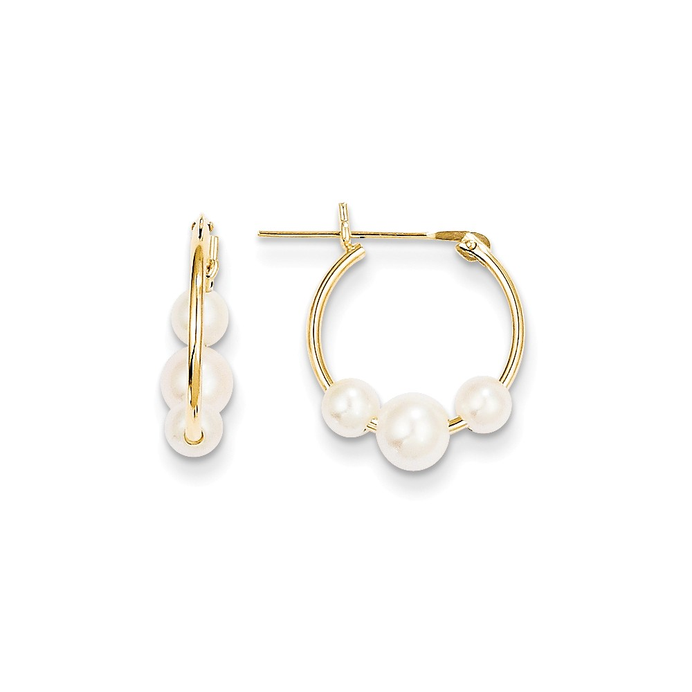 ICE CARATS ICE CARATS 14kt Yellow Gold Freshwater Cultured Pearl Hoop Earrings Ear Hoops Set Fine Jewelry Ideal Gifts... by IceCarats