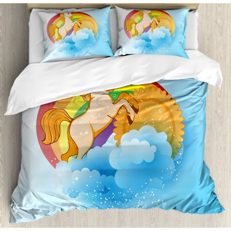 Ambesonne Unicorn Home and Kids Unicorn with a Single Horn Forehead on Sun Fluffy Clouds Art Print Duvet Cover Set ()