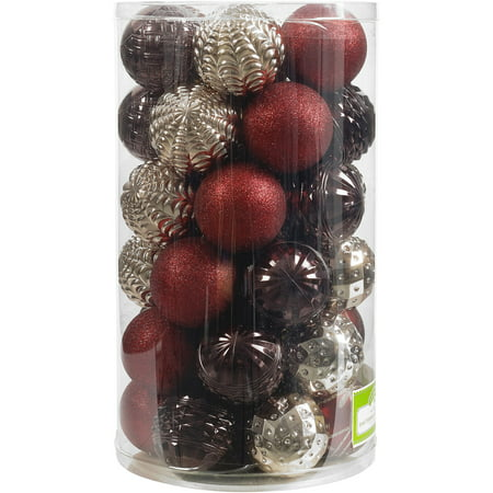 - Holiday Time 41-Piece Shatterproof Ornament Set, Dark Red, Brown & Champagne