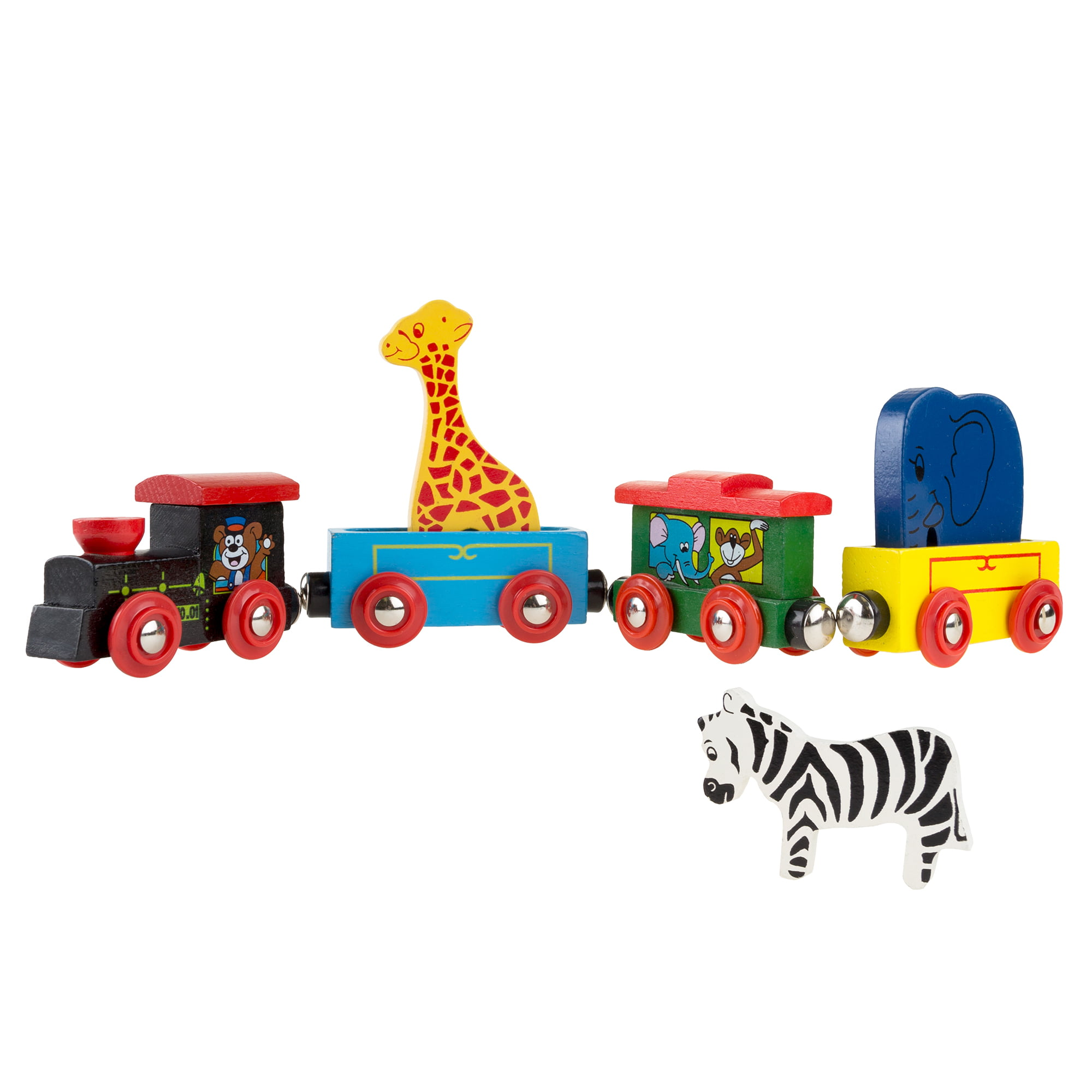Magnetic Train Toy Wooden Animal Learning Train Set with 4 Trains 3 Wooden Animals for... by Trademark Global LLC