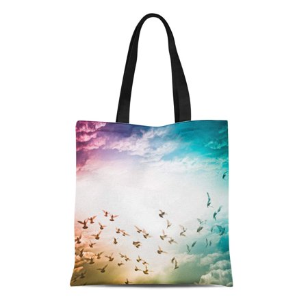 LADDKE Canvas Tote Bag Peace Dove Flying on Blue Sky Freedom Pigeon Hope Reusable Shoulder Grocery Shopping Bags